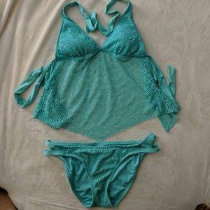 Seafoam green halter bikini